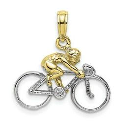 10k Yellow Gold with Rhodium 3-D BICYCLE with RIDER Pendant