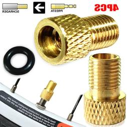 4PC BRASS ADAPTOR PRESTA TO SCHRADER BICYCLE VALVE CONVERTER