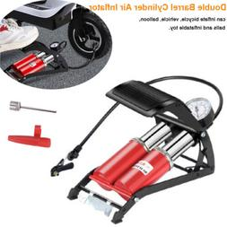 Double Barrel Cylinder Air Inflator Foot Pump for Car Bicycl