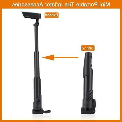 Bicycle Compact Hand Pump Tire Inflator Black
