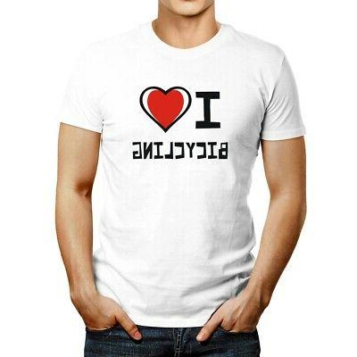 i love bicycling bicolor heart t shirt