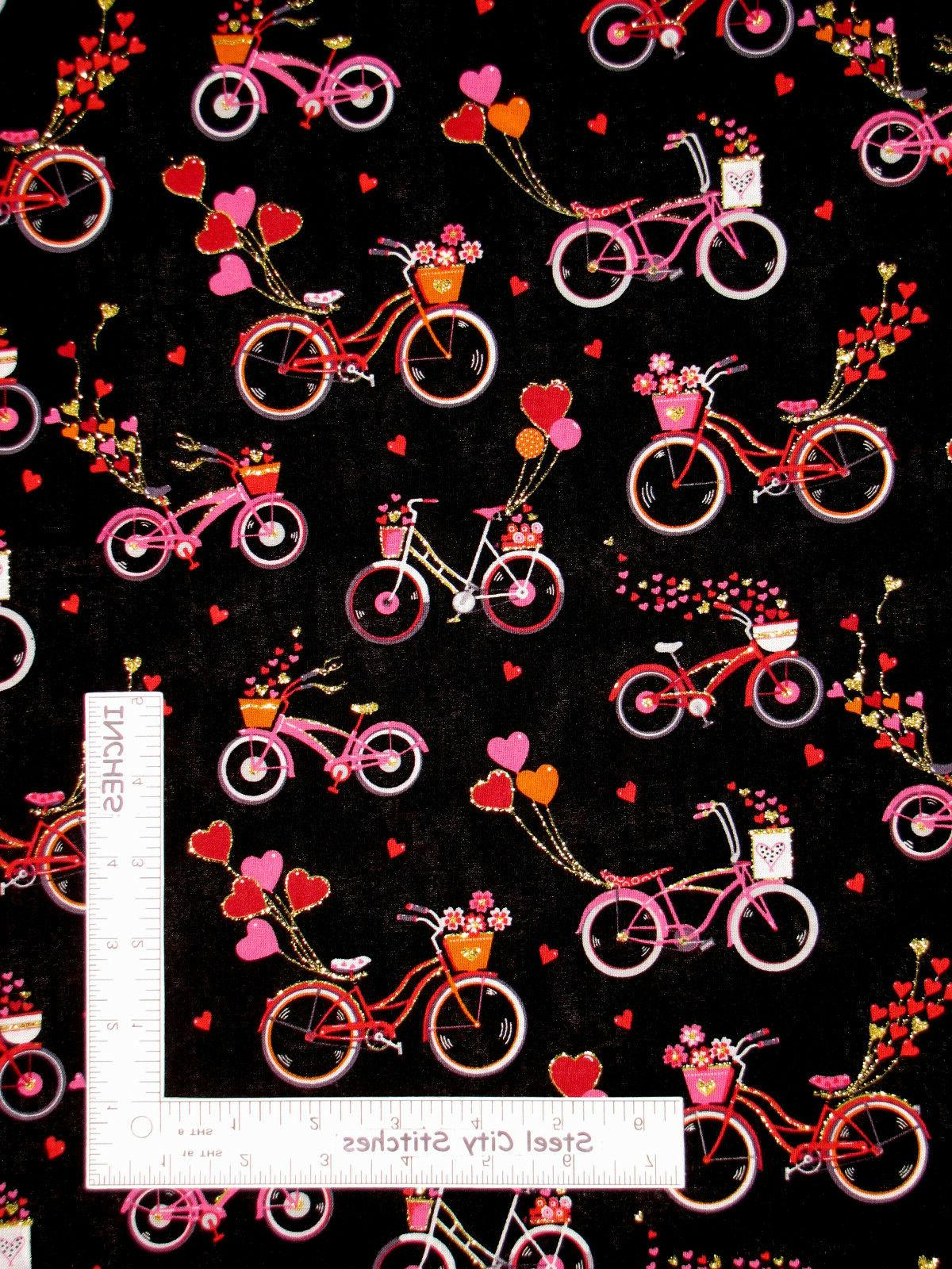 valentine s day bicycle heart glitter black