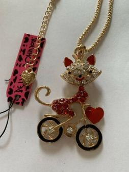 Betsey Johnson Red Enamel Crystal Cute Bicycle Cat WITH HEAR